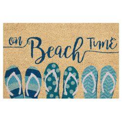 On Beach Time Flip Flops Coir Outdoor Mat