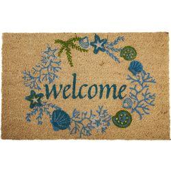 Tropix Welcome Shell Wreath Coir Outdoor Mat