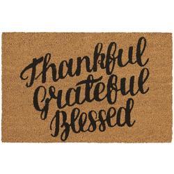 Thankful Grateful Blessed Coir Outdoor Mat