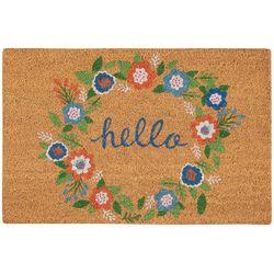 Casabella Hello Floral Wreath Coir Outdoor Mat