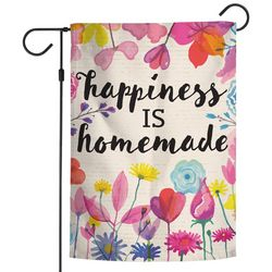 Wincraft Happiness Is Homemade Floral Garden Flag