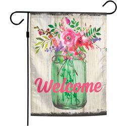 Mason Jar Welcome Garden Flag