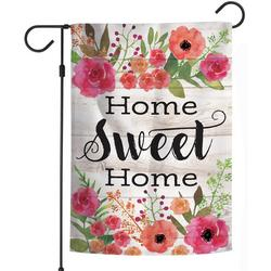 Home Sweet Home Floral Wreath Garden Flag