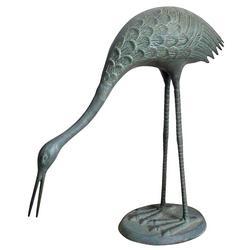 Feeding Crane Garden Sculpture