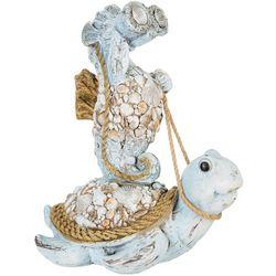 Solar Light Seahorse & Turtle Statue