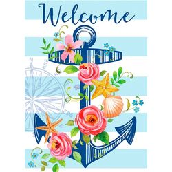 Floral Anchor Mini Garden Flag