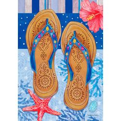 Custom Decor Beaded Flip Flops Garden Flag