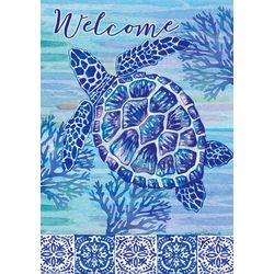 Sea Turtle & Tiles Mini Garden Flag