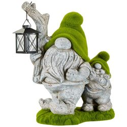 Galt International Moss Finish Gnome Lantern Garden Statue