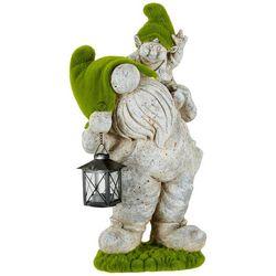 Galt International Moss Gnome Lantern Garden Statue