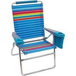 4 Position Highboy Striped Beach Chair