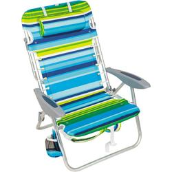 4 Position Striped Lay Flat Backpack Beach Chair