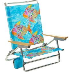 5 Position Tropical Fish Print Beach Chair