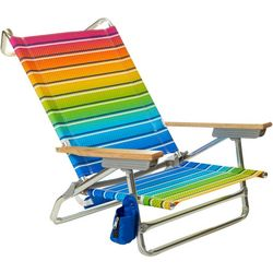 5 Position Rainbow Stripe Print Beach Chair