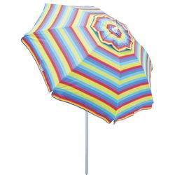 Rio Brands 6' Striped Tilt Beach Umbrella
