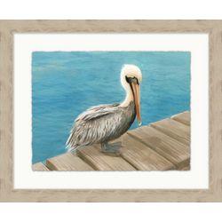 Coastal Home Perched Pelican Framed Wall Art