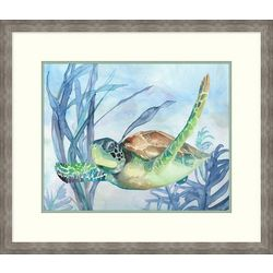 Palm Island Home Ocean Turtle II Framed Wall Art