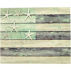 USA Flag Starfish Wood Wall Art