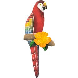 T.I. Design Small Red Parrot Wood Wall Art