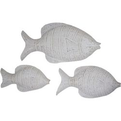 T.I. Design 3-pc. White Wash Fish Wall Art Set