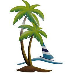 T.I. Design Palm Tree & Sailboat Metal Wall Art