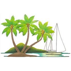 Coconut Palm Tree Medium Metal Wall Art - 29x19