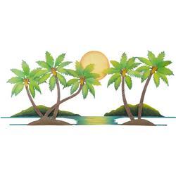 Coconut Palm Tree Oasis Metal Wall Art - 43x19