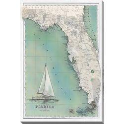 Streamline Art Florida Map Canvas Wall Art