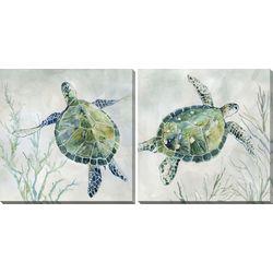 Streamline Art 2-pc. Sea Grass Sea Turtle Canvas Wall Art