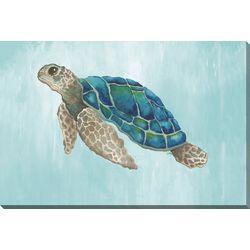 Streamline Art Watercolor Sea Turtle Canvas Wall Art