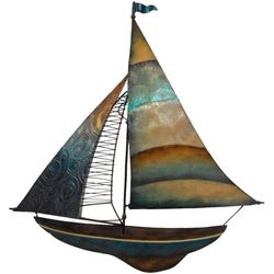 Coastal Home Natural Sailboat Capiz Wall Decor