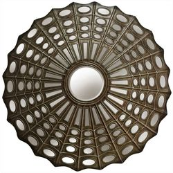 StyleCraft Round Antique Silver Metal Wall Mirror