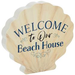Welcome To Our Beach House Shell Block Sign