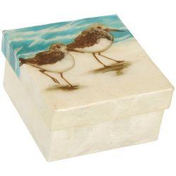 Coastal Home Sandpiper Capiz Shell Square Decorative Box