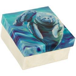 Manatee Capiz Shell Square Decorative Box