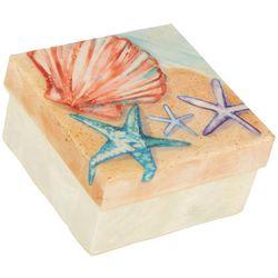 Coastal Home Starfish Capiz Shell Square Decorative Box