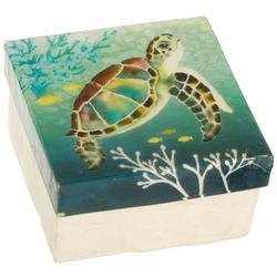 Sea Turtle Capiz Shell Square Decorative Box