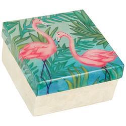 Flamingo Capiz Shell Square Decorative Box