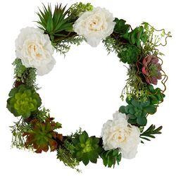 Flora Bunda 18'' Floral Succulent Wreath