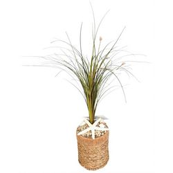 Coastal Home Artificial Grass In Seagrass Pot Arrangement
