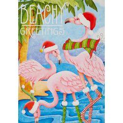 Beachy Flamingo Greetings Greeting Cards