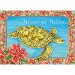 Turtle & Poinsettia Greeting Cards