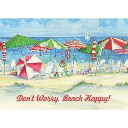 Umbrellas On The Beach Greeting Cards