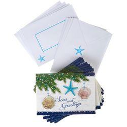Brighten the Season Seas And Greetings Greeting Cards