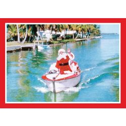 Brighten the Season Santa In Canal Greeting Cards