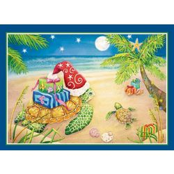 Brighten the Season Sea Turtle Present Greeting Cards