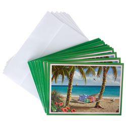 Brighten the Season Palm Tree & Presents Greeting Cards