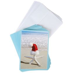 Brighten the Season Starfish Santa Hat Greeting Cards