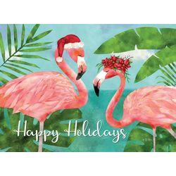 Brighten the Season Happy Holidays Flamingos Greeting Cards