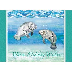 Brighten the Season Manatee Holiday Wishes Greeting Cards